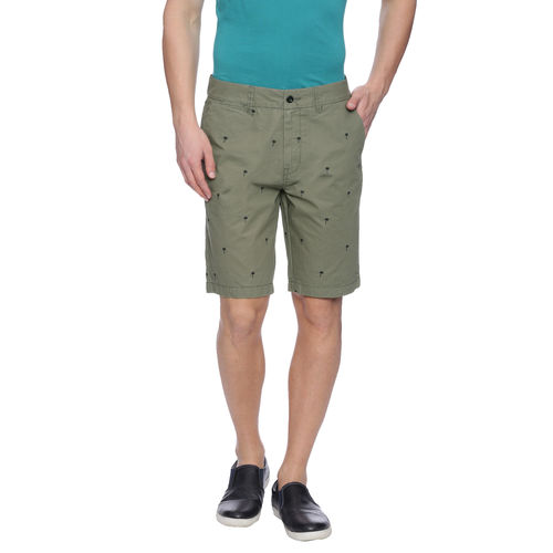 Pring Dull Green Solid Slim Fit Shorts, 34,  dull green