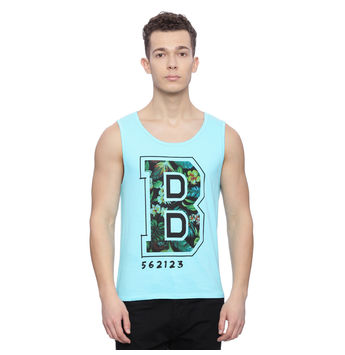 Briset Blue Printed Slim Fit Vest, s,  blue