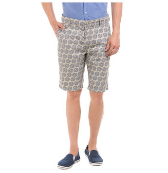 RYDAL BEIGE Slim Fit Printed Shorts,  beige, 32