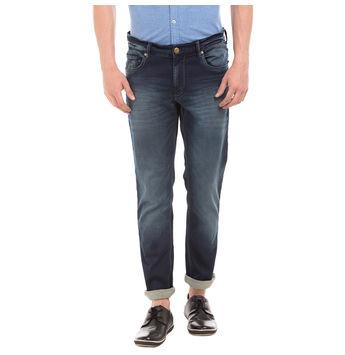 CROW Dr BLUE Slim Fit Solid Trouser,  blue, 30
