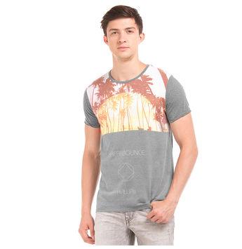 HARROW Castle Rock Grey Regular Fit Printed T-Shirt,  grey, xl