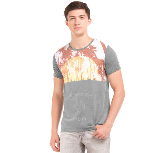 HARROW Castle Rock Grey Regular Fit Printed T-Shirt,  grey, l