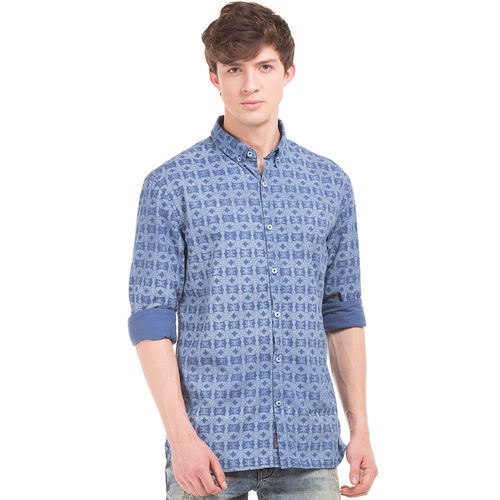 OBEN BLUE Slim Fit Printed Shirt,  blue, s