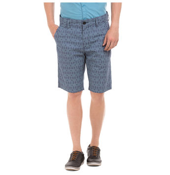 TIBER TWILIGHT BLUE Slim Fit Printed Shorts,  navy blue, 38