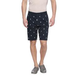Lendal Navy Self Design Slim Fit Shorts, 32,  navy