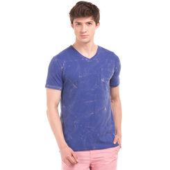 TECK Dazling Blue Regular Fit Solid T-Shirt,  blue, l
