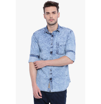 Breakbounce Abel Men's Casual Slim Fit Shirt, slim, m,  indigo