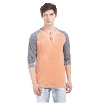 JACOB Orange Peel Regular Fit Solid T-Shirt,  orange, xl