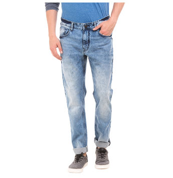 MONK LT BLUE Slim Fit Solid Jeans,  blue, 38