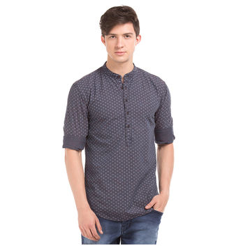 ALLEN GREY Slim Fit Printed Shirt,  grey, s