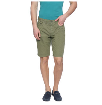 Bard Green Solid Slim Fit Shorts, 28,  green