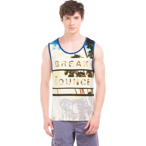DUKE Egret White Slim Fit Printed Vest,  white, m