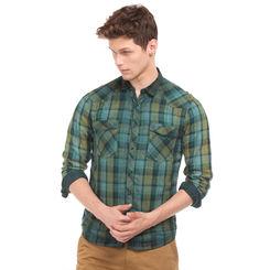 LAUREL GREEN Slim Fit Checked Shirt,  green, l