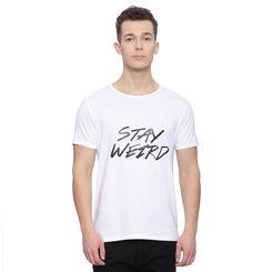 Batson Pale White Printed Slim Fit T Shirt, l,  pale white