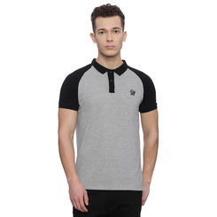 Manchester Dark Grey Solid Regular Fit Polo, l,  dark grey
