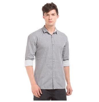 TRYON LT GREY Slim Fit Printed Shirt,  cream, s