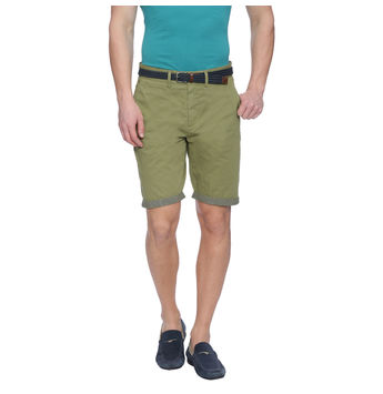 Furley Green Solid Slim Fit Shorts, 34,  green