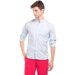 MERLIN LT BLUE Slim Fit Self Design Shirt,  light blue, m