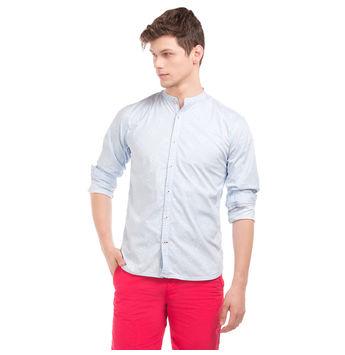 MERLIN LT BLUE Slim Fit Self Design Shirt,  light blue, l