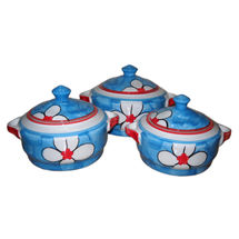 Beautiful Flower design Donga Set - Set of 3, regular