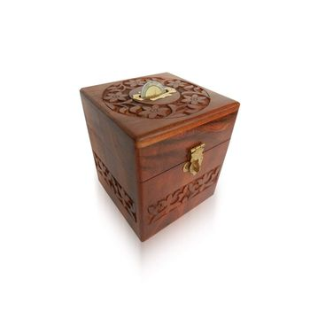 Hand Carved Wooden Coin Box, regular