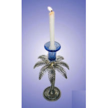 White Metal and Glass Khazur tree shape Candle Stand - with single holder, regular