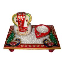Marvellous Marble Ganesha Chowki with Peacock design and Marble DIya, regular