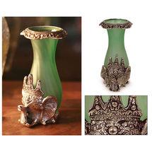 White Metal and Glass Elephant shape Flower Vase, regular