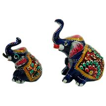 Rajasthani Appu Meenawork Painting Elephant Pair - Mix Size, regular