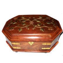 Wooden Brass Inlay work Bangle Box - Octagonal, regular