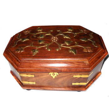 Wooden Brass Inlay work Bangle Box - Octagonal, regular