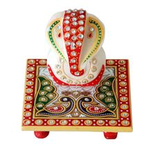 Marvellous Marble Ganesha Idol with Peacock design Chowki, regular