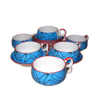 Beautiful Chirag shape Design Cup and Saucer Set - Blue color, regular