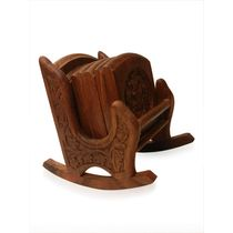 Wooden Rocking chair design decorative coaster set, regular