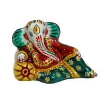 Rajasthani Meenawork Painted Enamelled Metal Resting Ganesha Idol, regular