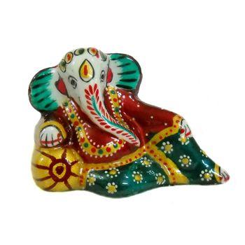 Rajasthani Meenawork Painted Enamelled Metal Resting Ganesha Idol, regular