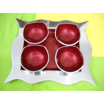 Snacks Serving 4 Bowl and tray Set - Red, regular