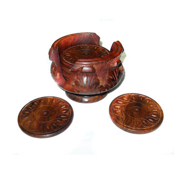 Hand Carved Lotus Design Wooden Coaster Set, regular