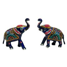 Rajasthani Meenawork Painting Elephant Pair, small