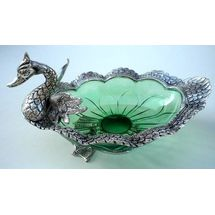 Glass and White Metal Oval Shape Duck Serving Plate, regular