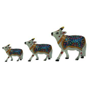 Rajasthani Meenawork Painted Cow Statues Set of 3, regular