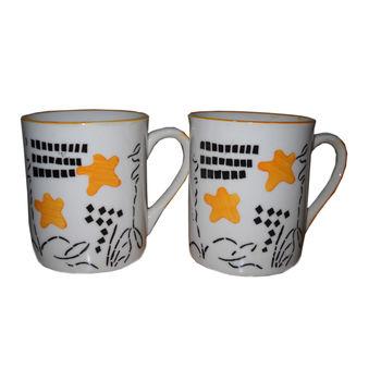 Flowers Print Milk/Coffee Mug - Set of 2, regular