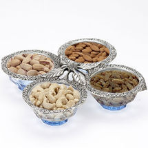 Glass and White Metal Dry Fruit Tray Set with Four Bowls, regular