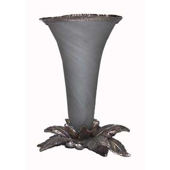 White Metal and Glass Misile shape Flower Vase, regular