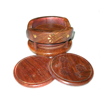 Hand Carved and Brass Inlay Design Wooden Coasters Set, regular