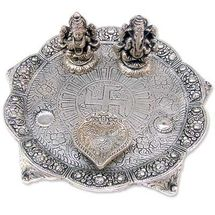 White Metal Laxmi Ganesh Deepak Thaali, regular
