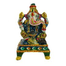 Rajasthani Meenawork Painted Enamelled Metal Chowki Ganesha Idol, regular