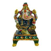 Rajasthani Meenawork Painted Enamelled Metal Chowki Ganesha Idol, regular