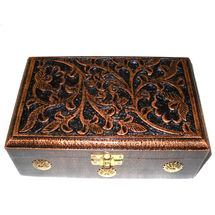 Antique Hand Carved Wooden Jewellery Box, regular