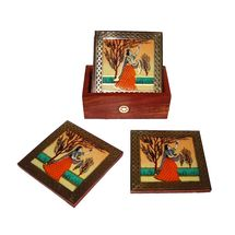Beautifully handcrafted Gemstone and Wooden Coasters Set with Beautiful Painting, regular